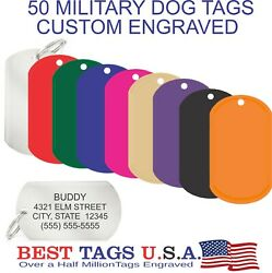 50 Custom Engraved Military Dog Tags Key Chain Id Made In Usa 59.95 Shipped