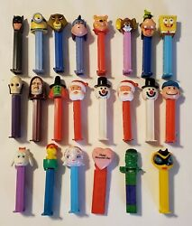 Lot Of 22 Vintage Pez Candy Sticks Collectible 70's, 80's, 90's, 2000's.