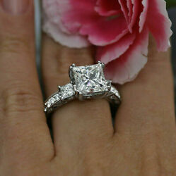 3.00 Ct Princess Cut White Diamond Fine Engagement Gifts Ring In Sterling Silver