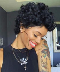 None Lace Front Wigs For black WomenShort Bob Curly Human Hair Wigs 100% Virgin $13.58