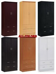 Bedroom Armoire 2 Door 2 Drawers Wardrobe Storage Closet Cabinet Wood All Colors