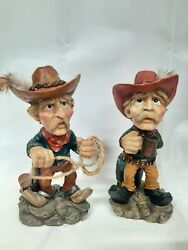2x Western Cowboy Resin Figurines 5quot; Tall Drinking amp; Roping