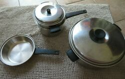 Lot Of Vintage Pots And Pans 2 Quart 3 Ply 18/8 Stainless Steel Made In Usa