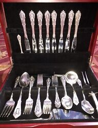 Wallace Rose Point Antique Sterling Silver Service For 8 + Servers No Monogram