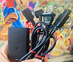 Oem Authentic Genuine Sony Playstation Vita Charger + Usb Cable 1000 Fat Oled