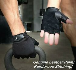 Women Men Gym Gloves Leather Palm For Workout Weight Lifting Fitness Exercise
