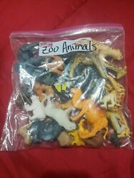 Lot Of Plastic Zoo Animals Toys Cake Topper