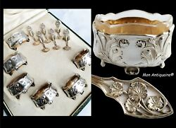 Antique French Sterling Silver Art Nouveau 6 Salt Cellars Set And 6 Spoons Boxed
