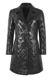 Florence Ladies Coat Black Real Leather Diamond Quilted 3/4 Overcoat Long Jacket