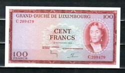 Luxembourg Europe 100 Francs Unc 1963 P-52 Scarce Banknote