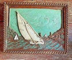 Vintage Ornawood 3d Framed Sailboat Wall Decor, 8 X 6, Made In Usa