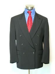 Nino Cerruti Double Breasted Suit Menand039s Size 42 Black S5