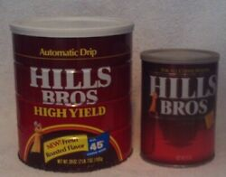 Vintage 2lb 7oz Hills Brothers Coffee Can And 13oz Tin Great Condition