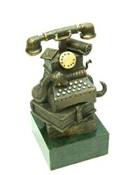 Phone And Books Bronze Authorand039s Sculpture Pedestal Green Stone Free Shipping