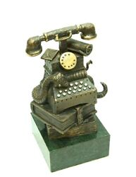 Phone And Books Bronze Author's Sculpture Pedestal Green Stone Free Shipping