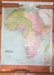 Rare 1914 Vintage School Pull Down Map Of Africa 55x40 W. And A. K. Johnstown