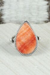 Spiny Oyster And Sterling Silver Ring - Selina Warner - Size 7.75