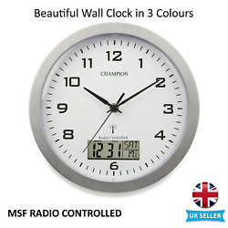 Champion Msf Radio Controlled Quartz Wall Clock With Inset Lcd Display With Date