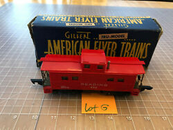 American Flyer S Train Red 630 L Lighted Reading Caboose Car W/box Lot G