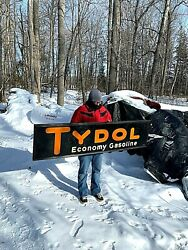 Vintage 1929 Tydol Gasoline Gas Oil Rare Sign W/ Wood Frame 72x18in