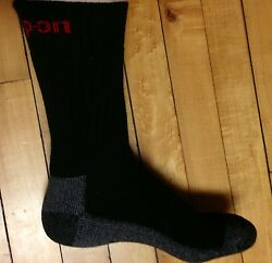 6 Pairs Mens Black Snap On Crew Socks L FREE Shipping MADE IN USA New $44.95