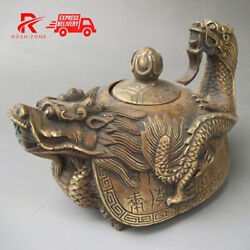 Vintage Oriental Bronze Signed Carved Dragon Wine Teapot Statues Rare Collation