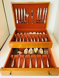 Vintage 1956 Silver Tulip International Silver Plated 56 Pc Flatware Set And Box