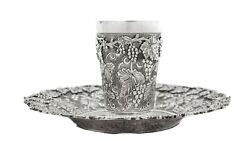 Italian 925 Sterling Silver Classic Leaf And Grape Design And Applique Cup And Tray