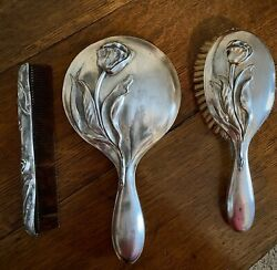 Elegant Vintage Silver Plated Vanity Dresser Set Brush Mirror And Comb