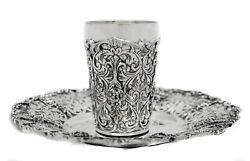 Fine 925 Sterling Silver Handmade Ornate Floral Applique Swirl Shiny Cup And Tray