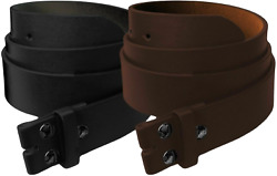 Mens Heavy Duty No Buckle Snap-on Smooth Grain Leather Casual Belt Strap 1.5