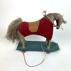 Antique Fabric Handmade Horse On Wheels Toy Rolling Vintage Collectible