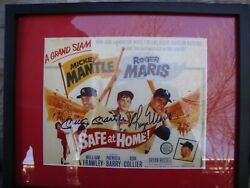 Mickey Mantle Roger Maris Safe At Home. Rare Dual Autographed 8x10 Picture.
