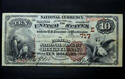 1882 10 National Bank Note ✪ Farmers Nb Bucks County ✪ Pa 717 Unique ◢trusted◣