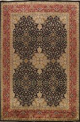 Vegetable Dye Floral Agra Oriental Area Rug Dining Room Black Hand-knotted 9x11