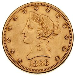 1886-s 10 Gold Liberty Head Eagle In Xf Condition Nice Early Us Gold