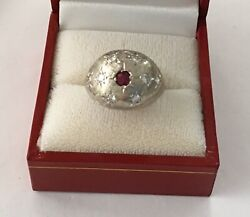 Antique Retro 14k White Gold Dome Ring With Ruby And Diamonds