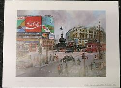 Coca-cola Brand Picture London Piccadilly Circus Lithograph - H Moss