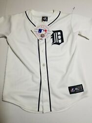 Nwt Vintage Detroit Tigers Johnny Damon Button Up Baseball Jersey Youth Size M