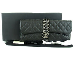Authentic Cc Black Quilted Leather X Silver Hw Flap Clutch Bag + Box Card