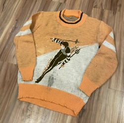 Vintage 40's Jacquard Picture Knit Graphic Sweater Of Skier Sz Xs S Women's
