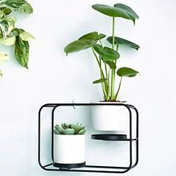 Wall Planters Indoor Plants Modern Design Holder With 2 Ceramic Pots amp;amp Mounts