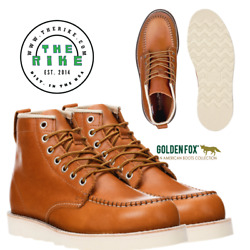 Golden Fox 6 Mens Leather Work Boots Heritage 1970 Moc Toe Wedge Casual Shoes
