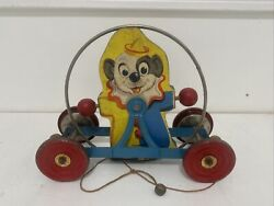 """Vintage 2 Sided Clown And Dog Bell Mfg Co Rolling 12"""" Long Pull Toy Cool Old You"""