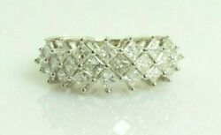 Diamond Cluster Ring Band In 14k White Gold 2.16 Carats Size 7