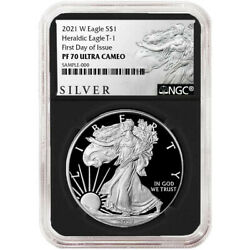 2021 W Ngc Pf 70 First Day Of Issue Proof American Silver Eagle Black Als Core