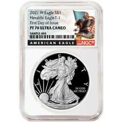 2021 W Ngc Pf 70 First Day Of Issue Proof American Silver Eagle Retro Eagle Core
