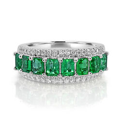 Real 2.13ct Natural Green Emerald And Diamonds Engagement Ring 18k Solid Gold