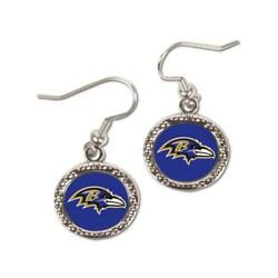Baltimore Ravens Round Style Earrings [new] Nfl Ear Ring Jewelry Post Hoop