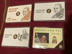 Rare Vintage 8k Solid Lot Gold Coin N. 4 Miniature Gold Coins Popes Collection